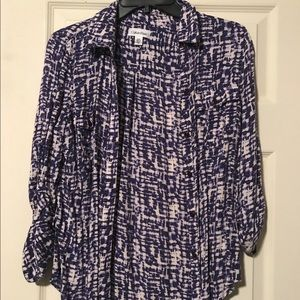 Blue/white/purple Roll Up Blouse