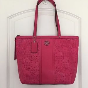 Coach Signature Perforated Leather Tote