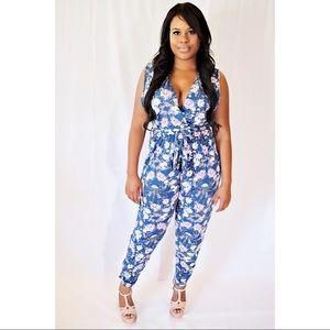*Plus Size* Blue Floral Jumpsuit