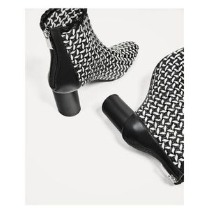 Zara black and white block heel booties