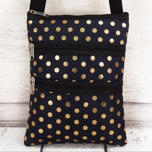 Handbags - Metallic Gold Polka Dot Navy Crossbody Bag