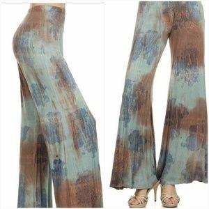 Pants - Multi color discharge dye palazzo pants