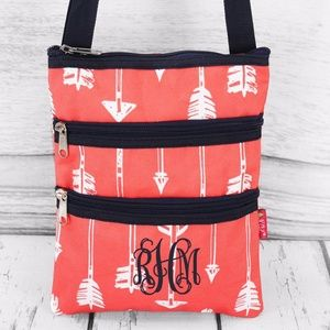Handbags - Arrow With Navy Trim Crossbody Bag (No Monogram)