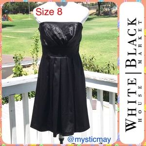 WHBM Black Strapless Satin Cocktail Party Dress