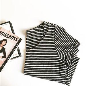 Plus Size Black & White Stripped Crop Top