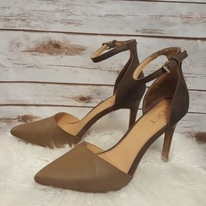 Shoes - LOFT two toned d'orsay heel/ brown/tan