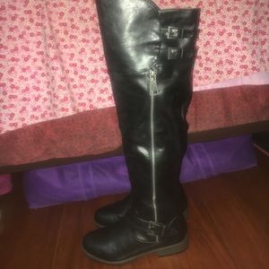 Shoes - Rouge Black Buckle Top Knee High Boots