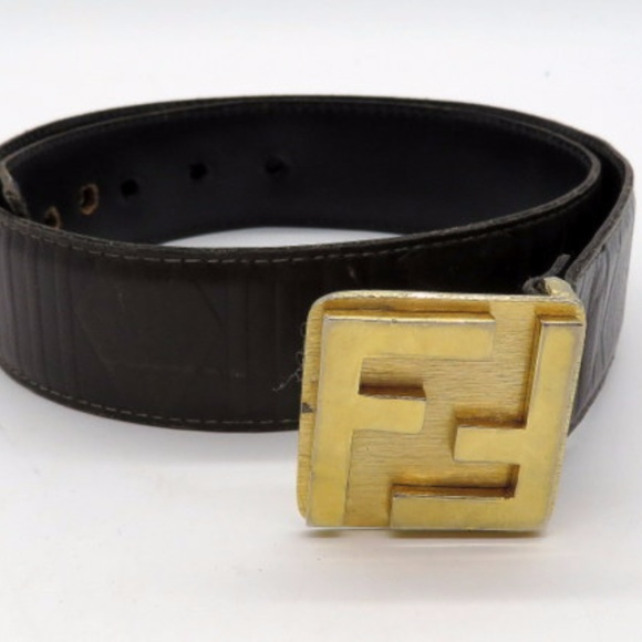 70703507 Vintage Fendi Belt Gold Tone Brown Leather SMALL