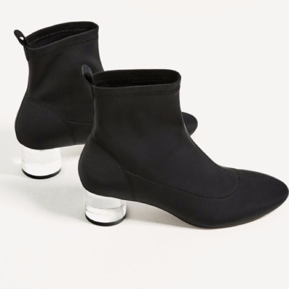 b40127c3af1 NWT Zara ANKLE BOOTS - CLEAR (METHACRYLATE) HEEL