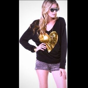 Wildfox NWOT Liquid gold heart Sweater