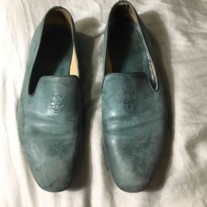 Distressed Teal Alexander McQueen Smoking Loafer
