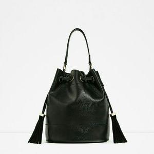 Zara Black Leather Bucket Bag with Tassels