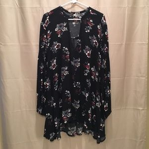 FREE PEOPLE black flowy floral dress
