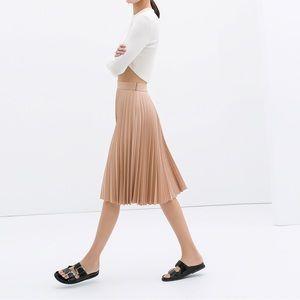 Zara Pink Pleated Accordion Midi Skirt