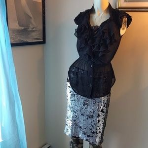 Motel Skirts - Reversible Silver + Black Sequin Skirt