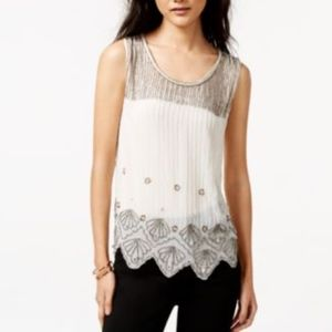 Bar III Sheer Beaded Jewel Tank Top Blouse Shirt