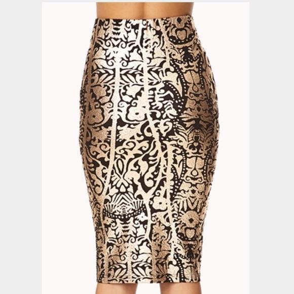 4d1311a6e4 Forever 21 Skirts | Black Gold Foil Baroque Pencil Skirt | Poshmark