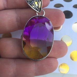 Crystal rainbow Necklace large light reflective