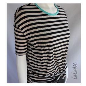 Sz (XXS) LuLaRoe Irma Black Beige Striped Shirt