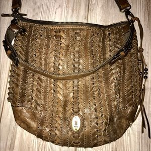 Fossil Braided Leather Crossbody Purse