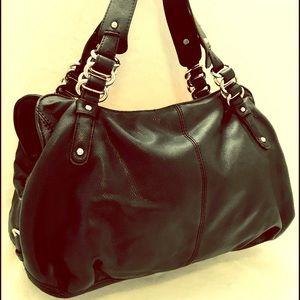 Express faux black leather handbag