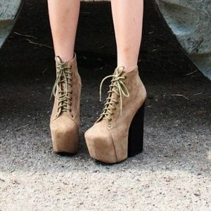 7e1949b90ff Jeffrey Campbell Shoes - Jeffrey Freda Lace Up Bootie Ankle Heel Chunky