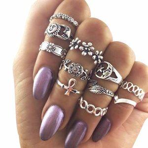 Jewelry - New Antique Silver Boho Sun Moon Midi Ring Set