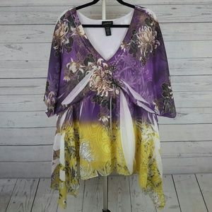 Lane Bryant Floral Print Tunic Top Plus Size 26/28