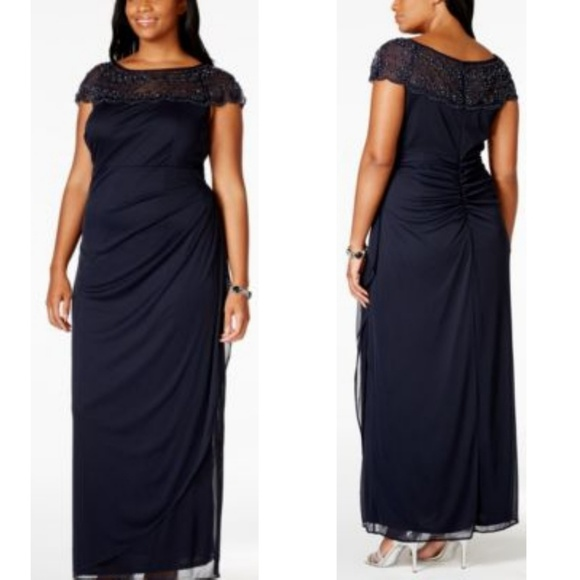 PLUS SIZE MSK EMBELLISH RUCHED GOWN NWT