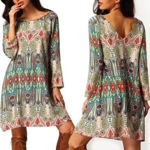 Dresses & Skirts - V-Neck Long Sleeve Loose Pom Pom Tunic Dress
