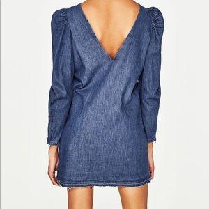 c2931607a7a Zara Dresses - New Zara denim mini dress with puff sleeves