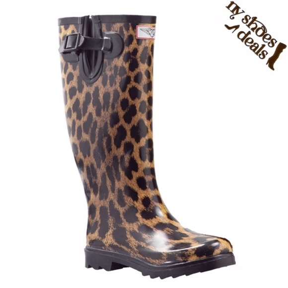be619f1ff255 Women s Leopard Design Rubber Rain Boots RB-1406