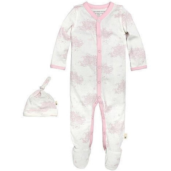 Burt/'s Bees Baby Girl Short Sleeve Coverall /& Knot Top Hat Set ~ White /& Pink ~