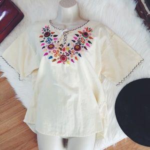 Vintage Ethnic Woven Handmade Hippie Blouse ML
