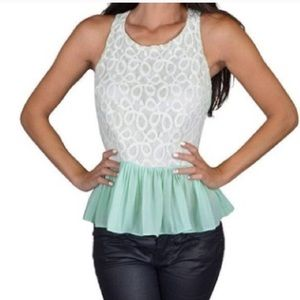 Tops - Light green net peplum top