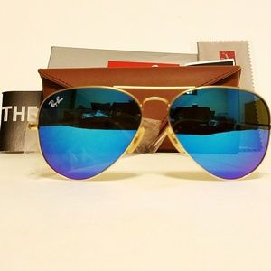 One Day SALE! New Ray Ban  matte Gold/Blue 58mm