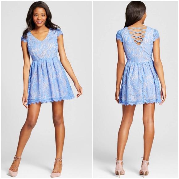 Lots of Love by Speechless Dresses   Skirts - Sky Blue Lace Lattice Back Skater  Dress a33784876