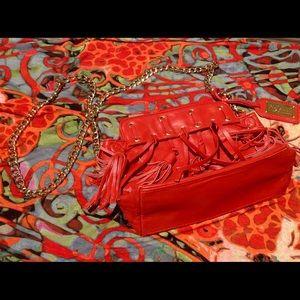 Handbags - Badgley Mischka Dark Orange Fringed Crossbody Bag