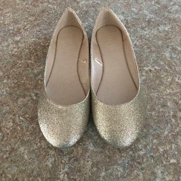 677e7e313 David's Bridal Shoes | Brand New Gold Glitter Size 7 Ballerina Flats ...