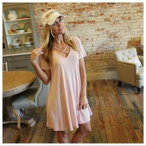 Blush cross neck tee dress with pockets