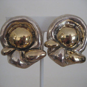 SILVER 925 GOLDTONE  BUTTON Clip On Earings 34.85