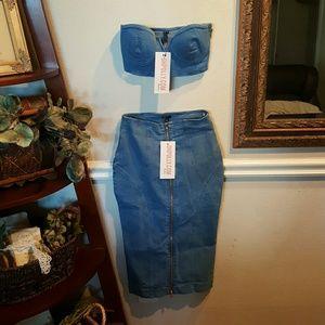0dcb816dc Oh polly Skirts | Denim Two Piece Set | Poshmark