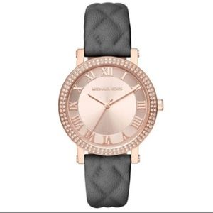 🎈FINAL PRICE-MK 2619 Gray Leather Rose Gold Watch