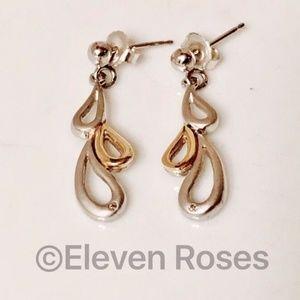 Jewelry - Diamond 14k Gold & Sterling Silver Dangle Earrings