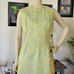 Vintage 50s Silk Brocade Oriental Cocktail Dress M