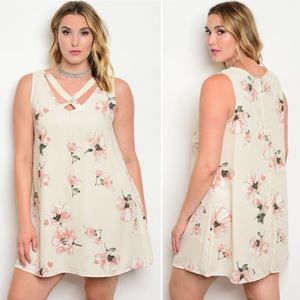 Cream and Peach Floral Plus Size Dress