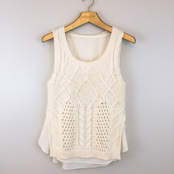 Anthropologie Sweaters Moth Neva Cream Cable Knit Sleeveless