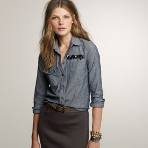J. Crew embellished chambray shirt