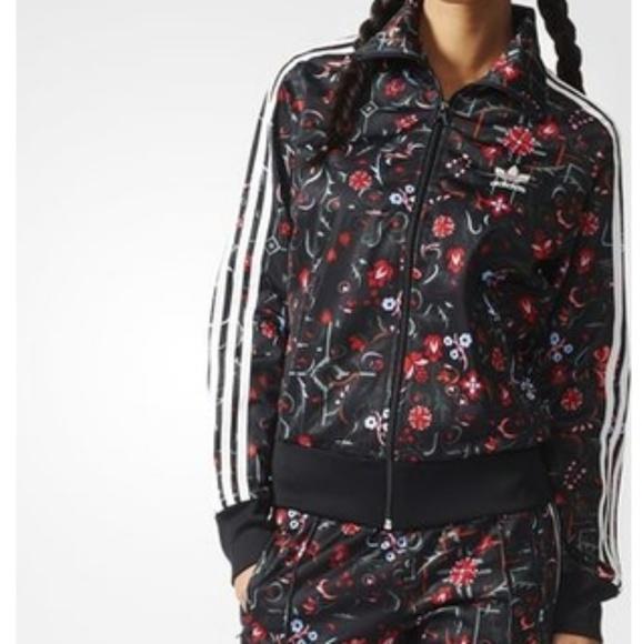 adidas firebird track jacket floral