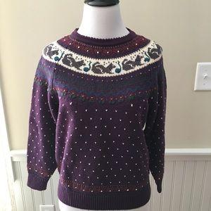Vintage Cat Kitty Sweater Purple Cotton